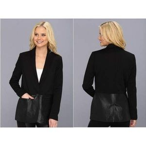 DKNYC Black Faux Leather Panel Blazer Jacket